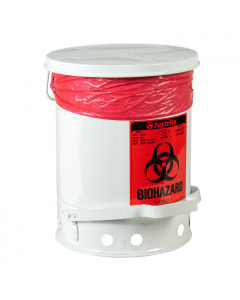 Biohazard Waste Can, 6 Gallon, Foot-Operated Self-Closing Cover, White