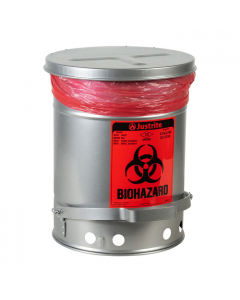 Biohazard Waste Can, 6 Gallon, Foot-Operated Self-Closing SoundGard™ Cover, Silver