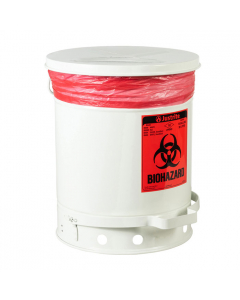 Biohazard Waste Can, 10 Gallon, Foot-Operated Self-Closing SoundGard™ Cover, White