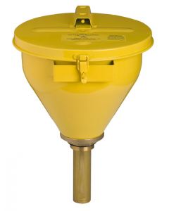 Large Steel Drum Funnel for flammables, 32 inch Flame Arrester, self-closing cover, 2 inch bung, Yellow