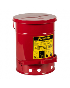 Oily Waste Can, 6 gallon, foot-operated self-closing cover, Red