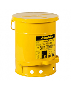 Oily Waste Can, 6 gallon, foot-operated self-closing cover, Yellow