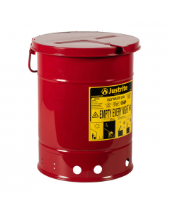 Oily Waste Can, 6 gallon, hand-operated cover, Red