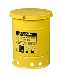 Oily Waste Can, 6 gallon, hand-operated cover, Yellow