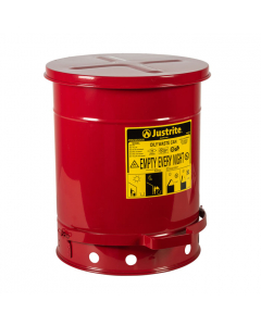 Oily Waste Can, 10 gallon, foot-operated self-closing cover, Red