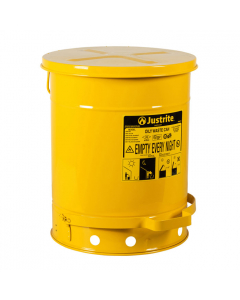 Oily Waste Can, 10 gallon, foot-operated self-closing cover, Yellow