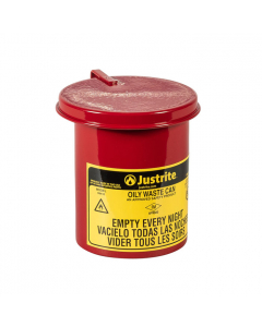 Oily Waste Mini Benchtop Can for long cotton-tip applicators, 0.45 gallon, SoundGard™ cover, Red