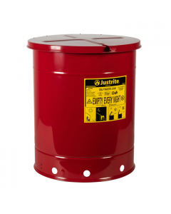 Oily Waste Can, 14 gallon, hand-operated cover, Red