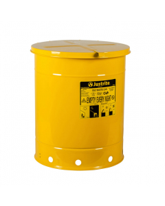 Oily Waste Can, 14 gallon, hand-operated cover, Yellow