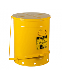 Oily Waste Can, 21 gallon, foot-operated self-closing cover, Yellow