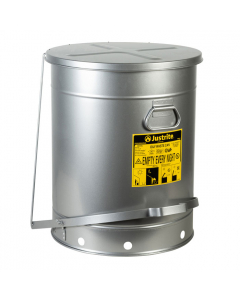 Oily Waste Can, 21 gallon, foot-operated self-closing SoundGard™ cover, Silver