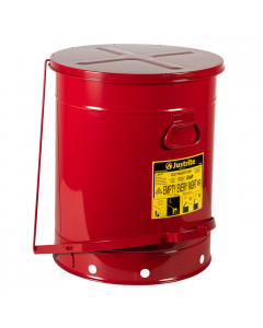 Oily Waste Can, 21 gallon, foot-operated self-closing SoundGard™ cover, Red