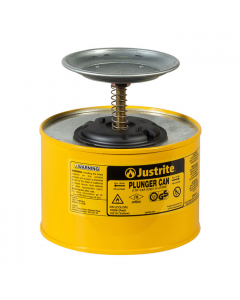 Plunger Dispensing Can, 2 quart, perforated pan screen serves as flame arrester, Steel, Yellow - #10218