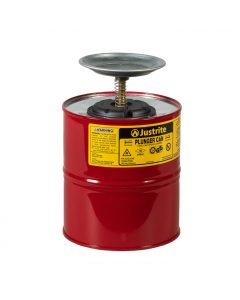 Plunger Dispensing Can, 1 gallon, perforated pan screen serves as flame arrester, steel, Red - #10308