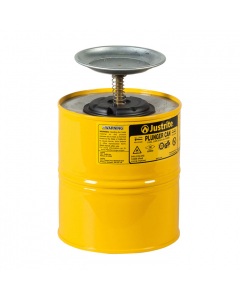 Plunger Dispensing Can, 1 gallon, perforated pan screen serves as flame arrester, steel, Yellow - #10318