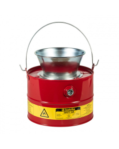 Drain Can with plated steel funnel, 3 gallon, Steel, Red - #10903