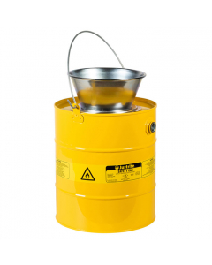 Drain Can with plated steel funnel, 5 gallon, Steel, Yellow - #10906