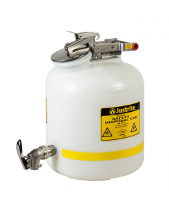Safety Can for Liquid Disposal, 5 gallon, stainless steel faucet, polyethylene, White - #12772