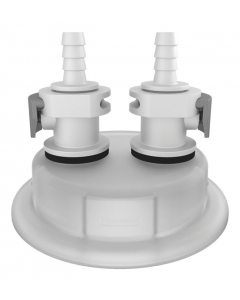 "Adapter for Carboy Cap, 83mm, with Two 1/4"" Hose Barbs, Quick Connects - #12869"