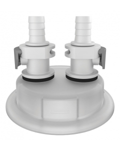 "Adapter for Carboy Cap, 83mm, with Two 3/8"" Hose Barbs, Quick Connects - #12870"