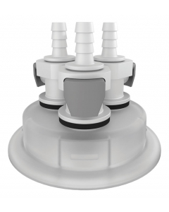 """Adapter for Carboy Cap, 83mm, with Three 1/4"""" Hose Barbs, Quick Connects - #12871"""