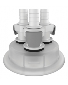 """Adapter for Carboy Cap, 83mm, with Three 3/8"""" Hose Barbs, Quick Connects - #12872"""