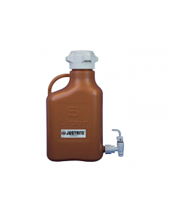Carboy, 5 L, High Density Polyethylene (HDPE), Amber, 83mm cap, with spigot - #12924