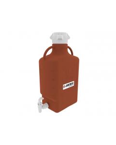 Carboy, 10 L, High Density Polyethylene (HDPE), Amber, 83mm cap, with spigot - #12925