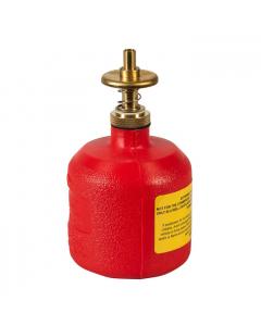 Dispensing Can, Nonmetallic, with brass dispenser valves, 8 ounce, polyethylene, Red - #14004