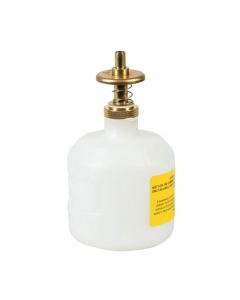 Dispensing Can, Nonmetallic, with brass dispenser valves, 8 ounce, translucent polyethylene, White - #14005