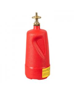 Dispensing Can, Nonmetallic, with brass dispenser valves, 1 quart, polyethylene, Red - #14010