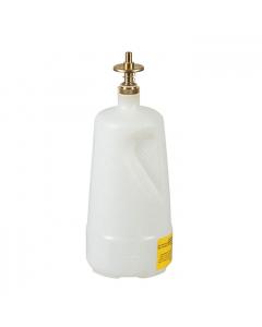 Dispensing Can, Nonmetallic, with brass dispenser valves, 1 quart, translucent polyethylene, White - #14012