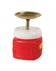 Plunger Dispensing Can, Nonmetallic, perforated screen serving as flame arrester, 1 quart., poly, Red - #14018