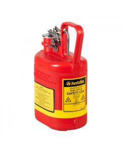 Oval Polyethylene Safety Can for flammables, stainless steel hardware, flame arrester, 1 gallon, Red - #14160
