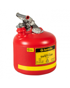 Type I Safety Can, Round Nonmetallic, stainless steel hardware, 2.5 gallon, polyethylene, Red - #14261
