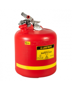Type I Safety Can, Round Nonmetallic, stainless steel hardware, 5 gallon,  polyethylene, Red - #14561