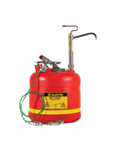 5 Gallon Plastic Safety Can, with Stainless Steel Piston Pump, Red – #14586