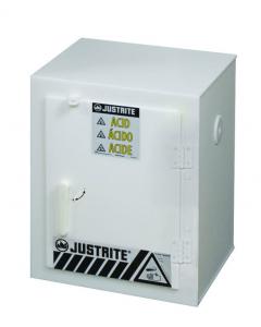 Countertop Polyethylene Corrosives Acid cabinet, Holds six 2-1/2 liter bottles, 1 Door, White - #24004