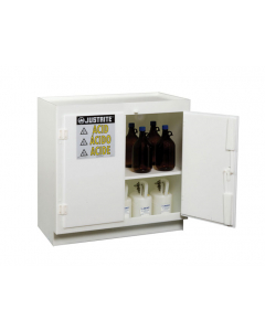 Polyethylene corrosives/acid safety cabinet, holds thirty-six 2-1/2 L bottles, 2 door, White - #24015