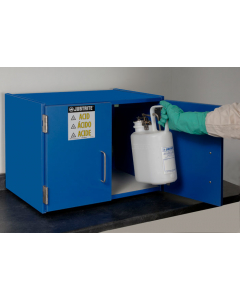 Wood laminate corrosives Countertop safety cabinet, Cap. six 2-1/2 L bottles, 2 doors, Blue - #24120