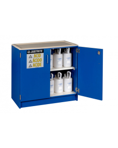 Wood laminate corrosives Undercounter safety cabinet, holds thirty-six 2-1/2 L bottles, 2 doors, Blue - #24140