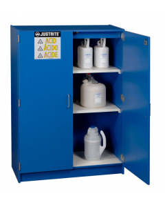 Wood laminate corrosives Undercounter safety cabinet, holds thirty-six 2-1/2 L bottles, 2 doors, Blue - #24150