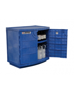 Polyethylene corrosives and acid cabinet, holds thirty-six 2-1/2 L bottles, 2 door, blue - #24180
