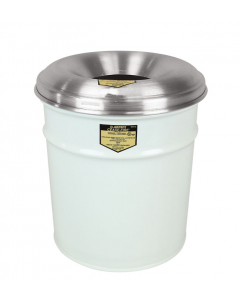 Cease-Fire® Waste Receptacle, Safety Drum Can With Aluminum Head, 4.5 gallon, White - #26604W