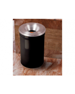 Cease-Fire® Waste Receptacle, Safety Drum Can With Aluminum Head, 12 gallon, Black - #26612K