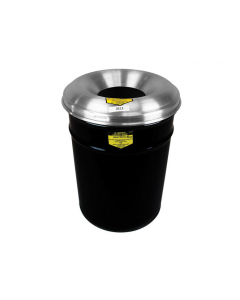 Cease-Fire® Waste Receptacle, Safety Drum Can With Aluminum Head, 15 gallon, Black - #26615K
