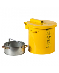 Wash Tank with Basket for small parts cleaning, 1 gallon, self-close cover w/fusible link, Steel, Yellow - #27811