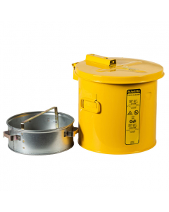 Wash Tank with Basket for small parts cleaning, 2 gallon, self-close cover w/fusible link, Steel, Yellow - #27812