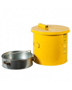 Wash Tank with Basket for small parts cleaning, 3.5 gallon, self-close cover w/fusible link, Steel, Yellow - #27813