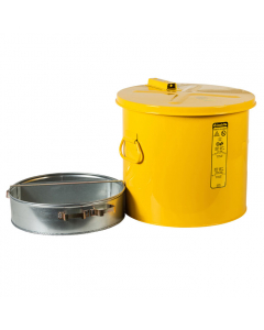 Wash Tank with Basket for small parts cleaning, 6 gallon, self-close cover w/fusible link, Steel, Yellow - #27816